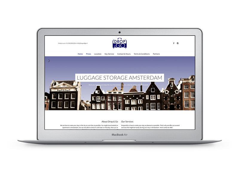 Website voor Drop & Go - Luggage Storage Amsterdam