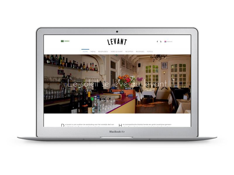 MorgenOnline maakte de website voor Restaurant Levant in Amsterdam